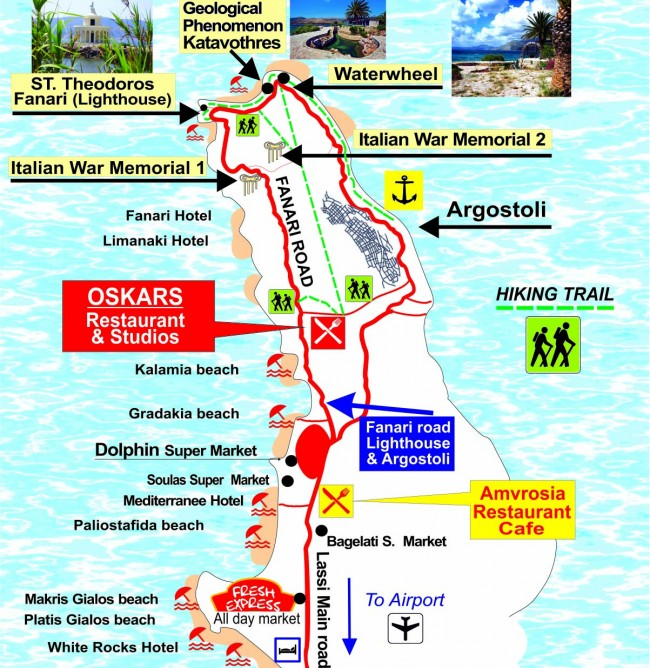 Map of Lassi Argostoli Kefalonia maps of Lassi beaches and how to